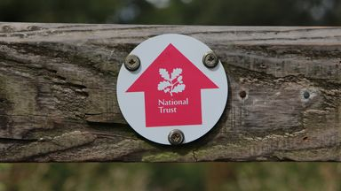 A National Trust footpath sign at Beningbrough Hall, a National Trust site in North Yorkshire
